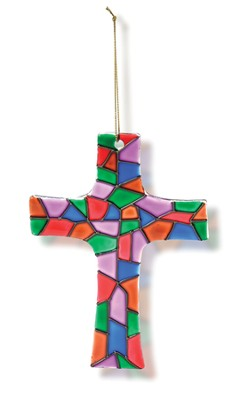 Stained Glass Cross Ornament   -