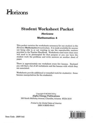 Horizons Mathematics Grade 4 Student worksheet packet  -