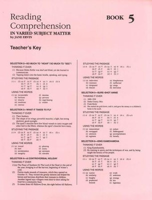 Reading Comprehension in Varied Subject Matter, Answer Key - Grade 7 - Slightly Imperfect  -