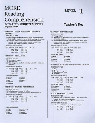 More Reading Comprehension, Teacher's key, Level 1   -     By: Jane Ervin