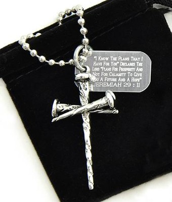 Nail Cross Pendant with Dog Tag  -