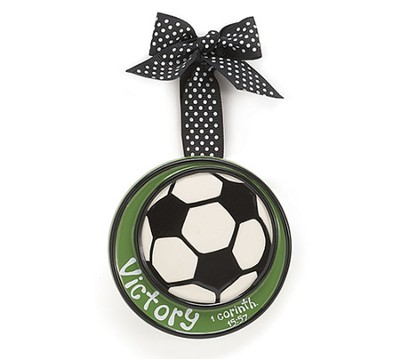 Soccer Ball Ornament, Victory, Small, I Corinthians 15:57   -