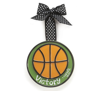 Basketball Ornament Victory, Small, I Corinthians 15:57   -