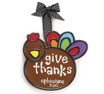 Turkey Ornament, Give Thanks, Large, Ephesians 5:20,   -