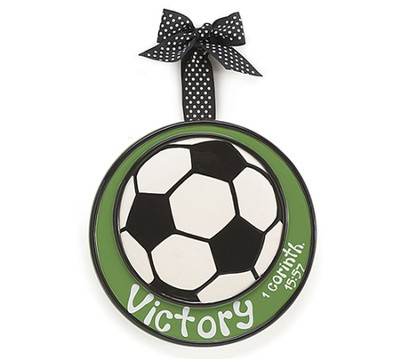 Soccer Ball Ornament, Victory, Large, I Corinthians 15:57   -