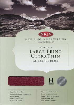 NKJV Ultra Thin Large Print Reference Bible, Genuine leather, Burgundy, Thumb-indexed  -