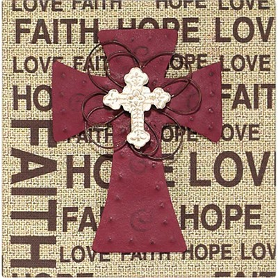 Faith Hope Love Plaque, with Cross  -