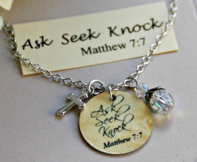 Ask, Seek, Knock Charm Necklace  -