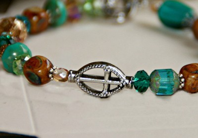 Cross Bracelet, Brown and Teal Crystals  -