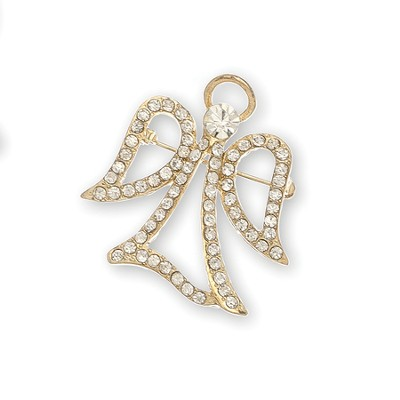 Crystal Stone Filigree Angel Pin, Open Wing, Gold  -