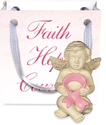 Angel-to-Go, Pink Ribbon, Gift Bagged  -