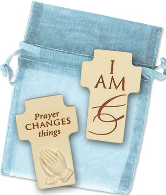 I Am and Prayer Changes Things, Two Sided Cross  -
