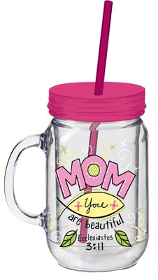 Mom, Mason Jar Insulated Cup, with Straw  -