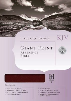KJV Giant Print Reference Bible, Bonded leather, Burgundy,  Thumb-Indexed  -