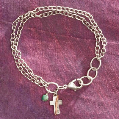 Textured Cross Bracelet  -