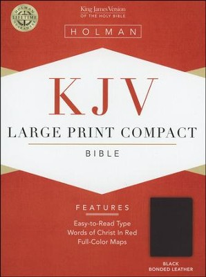KJV Holman Large Print Compact Bible, Black Bonded Leather  -