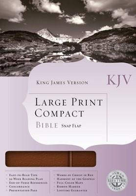 KJV Compact Bible, Large Print, Bonded leather, Brown w/snap flap  - Imperfectly Imprinted Bibles  -