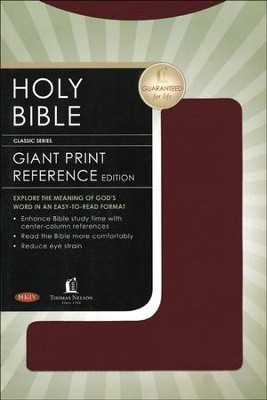 NKJV Giant Print Center-Column Reference Bible, Leatherflex, Burgundy  -