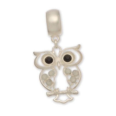 Owl, Scarf Accent, Silver  -