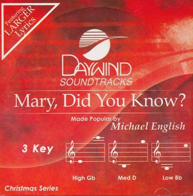 Mary Did You Know (3 Key) Acc, CD  -     By: Michael English