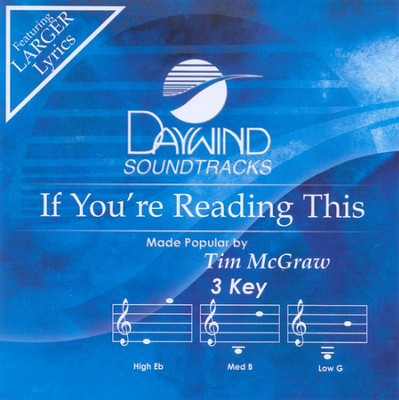 If You're Reading This, Accompaniment CD    -     By: Tim McGraw