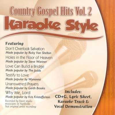 Country Gospel Hits, Volume 2, Karaoke Style CD   -