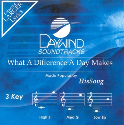 What A Difference A Day Makes, Accompaniment CD     -     By: HisSong