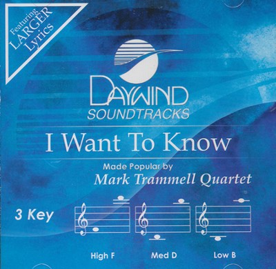 I Want to Know Acc, CD  -     By: Mark Trammell Quartet