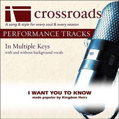 I Want You To Know (Performance Track without Background Vocals in G)  [Music Download] -