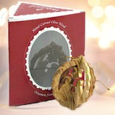 Round Nativity 3-D Olive Wood Ornament, Boxed