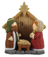 One Piece, Tabletop Nativity, Knitted Finish