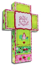 Canvas Wall Cross, Blessed, Large