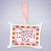 Jesus Loves Me Pillow Music Box, Pink