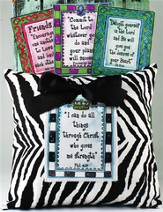 Four Scriptures Zebra Print Pillow