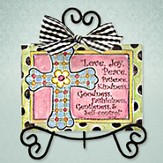 Love, Joy, Peace Cross Easel Print