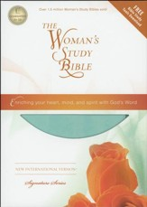 NIV Woman's Study Bible, Leathersoft Turquoise & Sea Foam Green