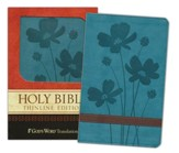 God's Word Thinline Bible, Imitation leather, Turquoise/Brown, Flower Design