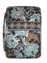 Quilted Bible Cover, Blue and Black Floral, Large