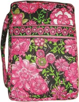Quilted Bible Cover, Pink and White Floral, X-Large