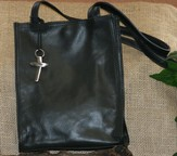 Genuine Leather Bible Tote, Black