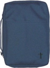 Embroidered Canvas Bible Cover, Navy, Large