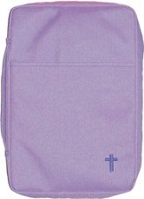 Embroidered Canvas Bible Cover, Purple, Medium