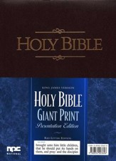 KJV Giant-Print Presentation Bible--imitation leather, burgundy