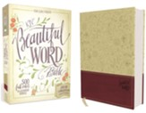 KJV Beautiful Word Bible--soft leather-look, taupe/berry