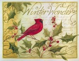 Holly and Cardinal Christmas Cards, Deluxe Box of 18