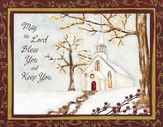 May the Lord Bless, White Church Christmas Cards, Deluxe Box of 18