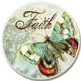 Faith Butterfly Auto Coaster