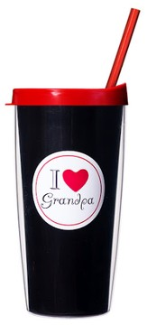 I Love Grandpa...Mug with Straw