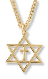 Gold-Plated Star of David Cross Pendant