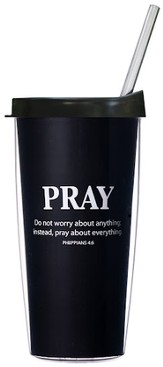 Pray About Everything...Mug with Straw